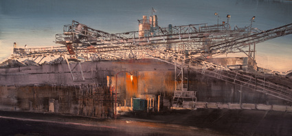 A material yard in Irvines industrial area is all aglow in the twilight of an Autumn evening