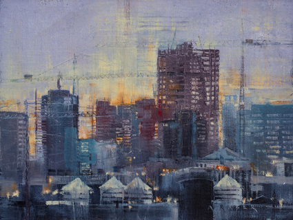 Skyline - FOA, wet,Urban oil painting by artist April Raber