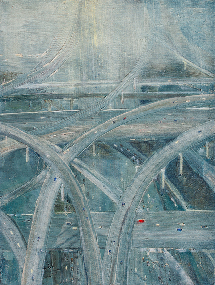 Woven Concrete - Urban oil painting by artist April Raber
